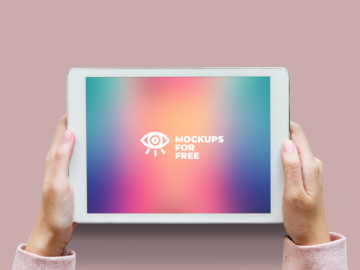 Free iPad mockup in hands